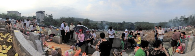 A 'landscape of death_ coming alive as families gather during the Qing Ming Festival