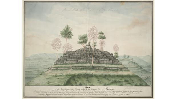 RAffles - watercolour painting of Borobudur, 1815