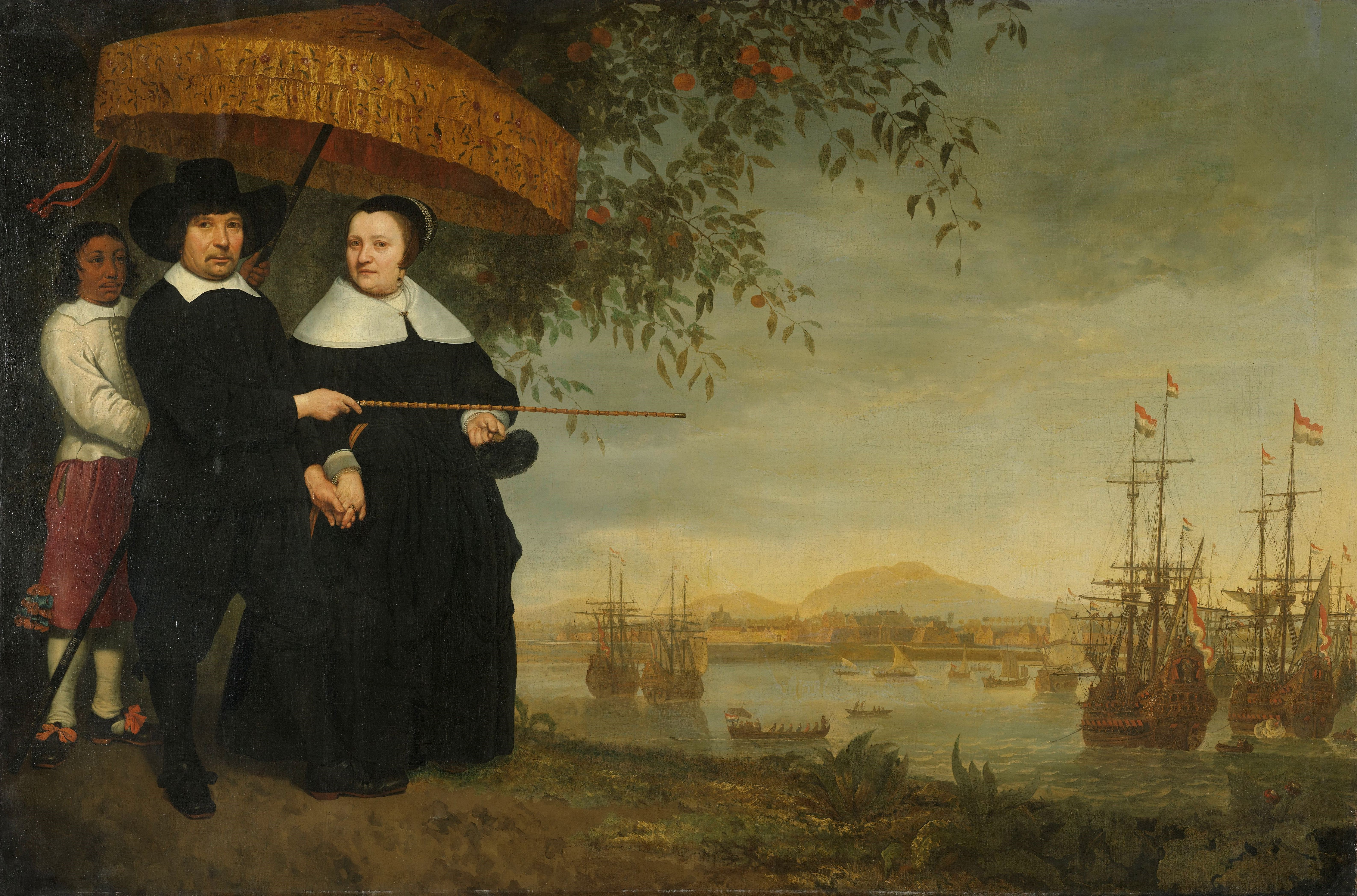 Aelbert Cuyp 'A senior merchant of the Dutch East India Company and his wife; in the background the fleet in the roads of Batavia' 1640-60.jpg